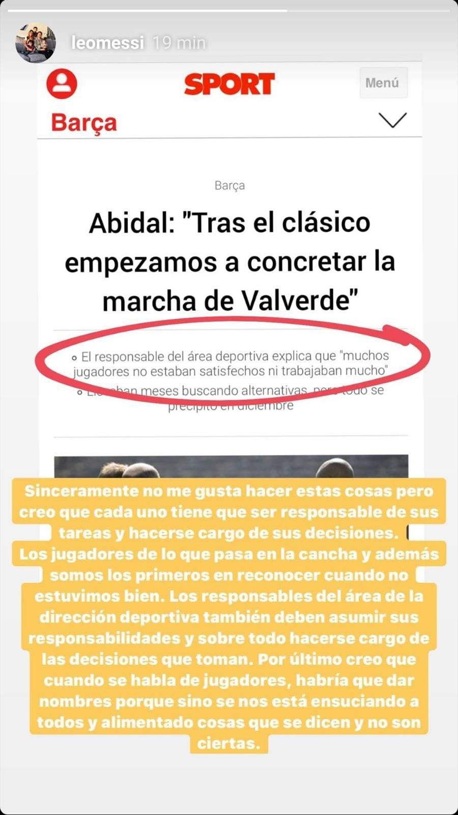 The answer of Leo Messi to Éric Abidal with Instagram Stories