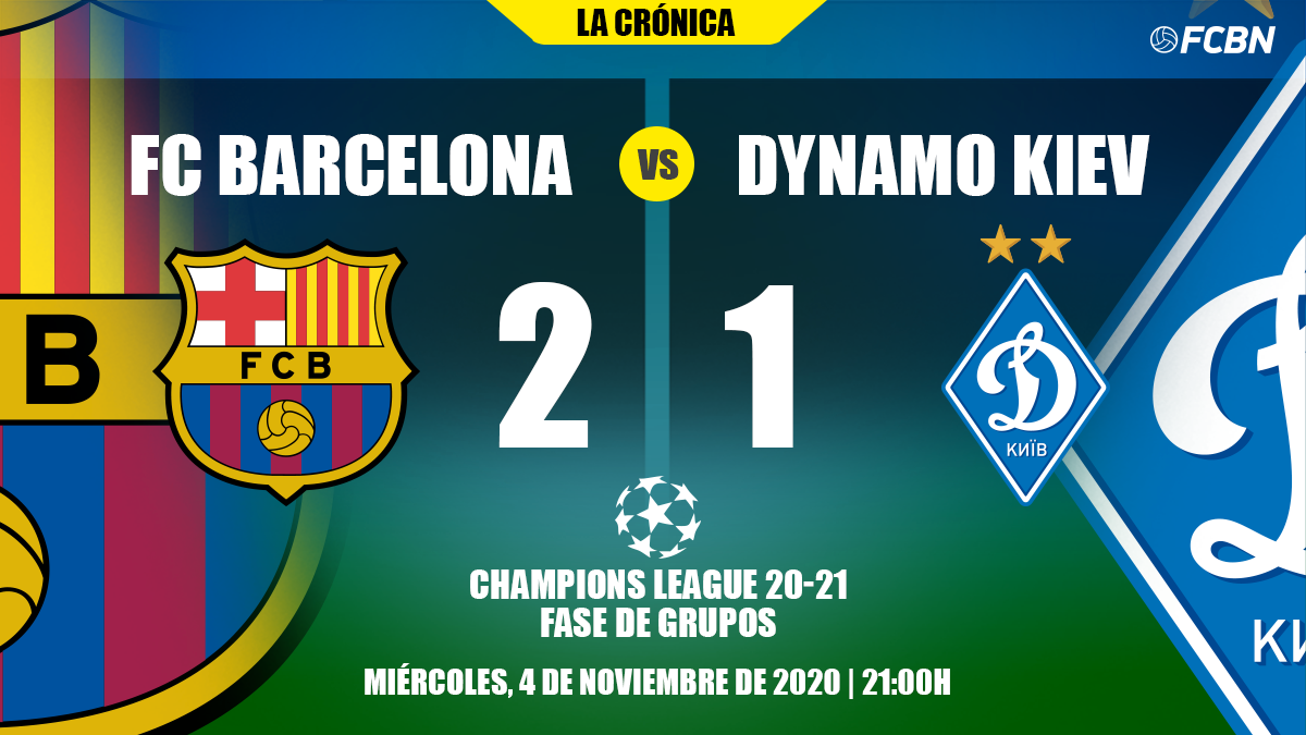 the barcelona survived against the dynamo and leads his group of champions 2 1 the barcelona survived against the