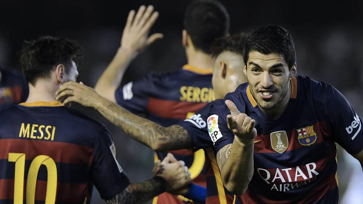 Luis Su�rez, celebrando el gol marcado contra el Betis