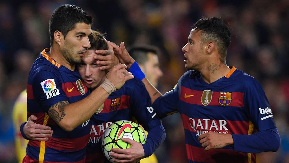 Messi, Neymar y Su�rez, celebrando un gol esta temporada