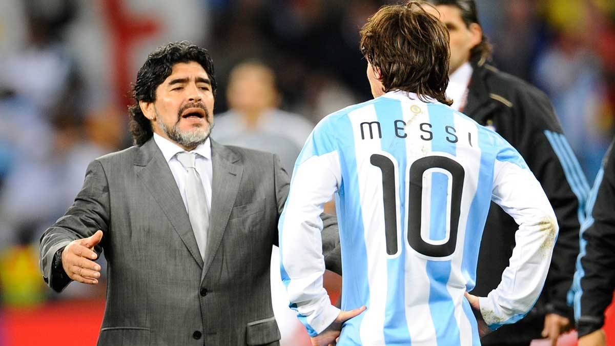 Maradona carga contra la AFA utilizando a Messi y al Barça