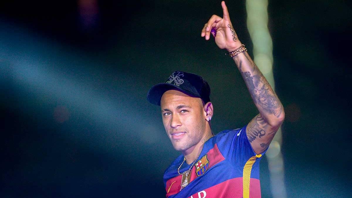 Neymar J�nior en la fiesta del doblete del Camp Nou