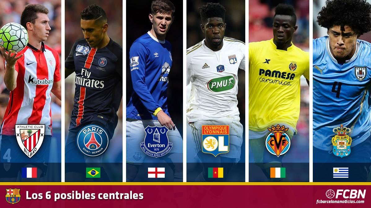 Los 6 centrales en la agenda del FC Barcelona 2016-17
