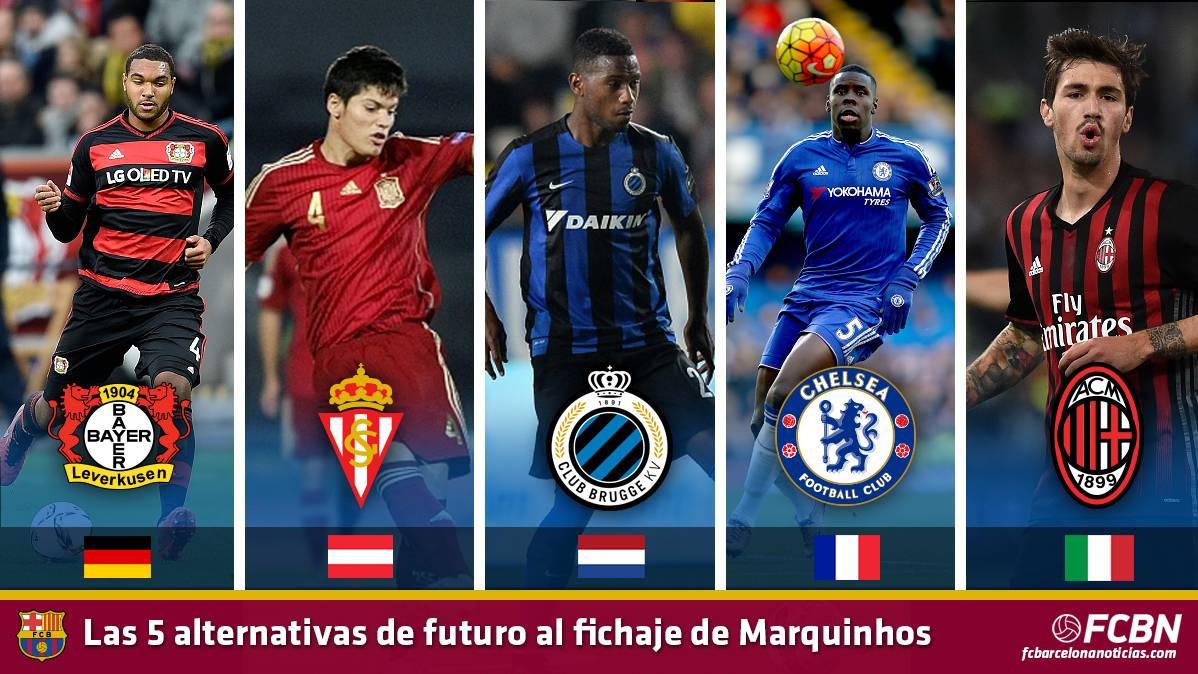 Las cinco alternativas al fichaje de Marquinhos por el Barça