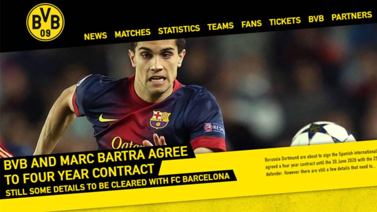 El Borussia hizo oficial el fichaje de Bartra, que firma 4 a�os