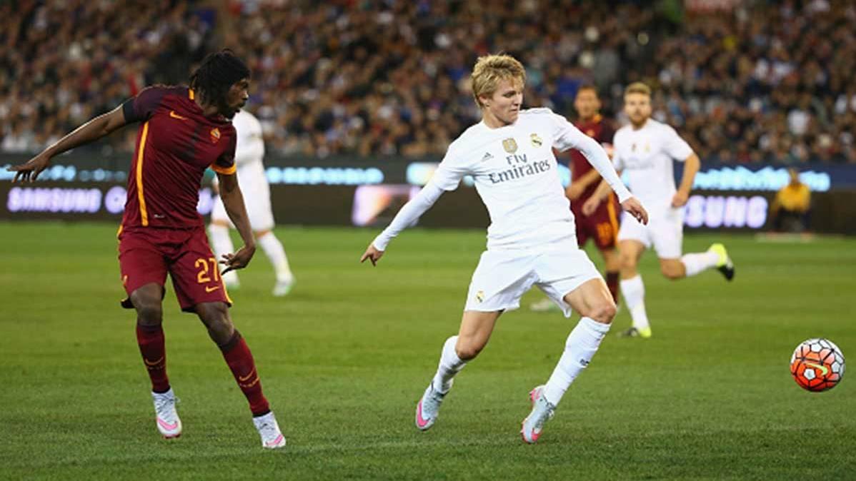 Martin Odergaard, en un partido con el Real Madrid frente a la AS Roma