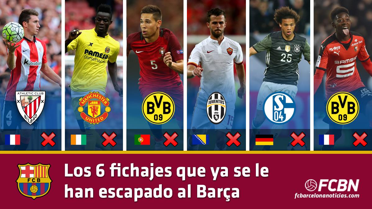 Los 6 fichajes que ya se le han escapado al FC Barcelona