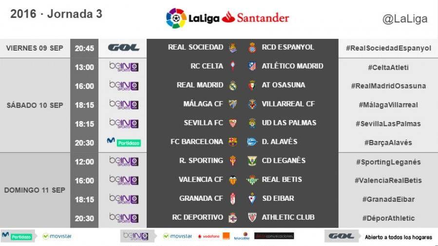Estos son los horarios de la jornada 3 de LaLiga 2016-2017