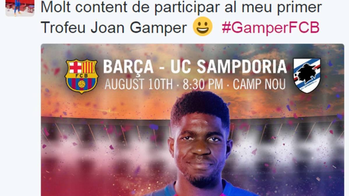 Gran gesto de Umtiti: primer tuit en catalán con el Barça