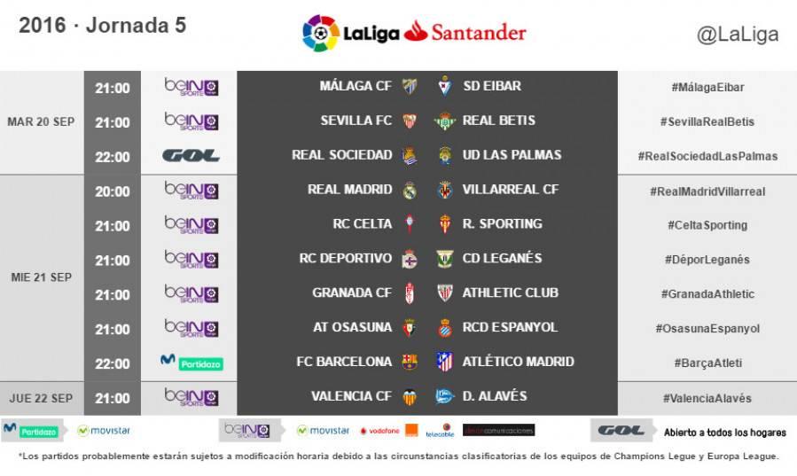 Estos son los horarios de la jornada 5 de LaLiga 2016-2017