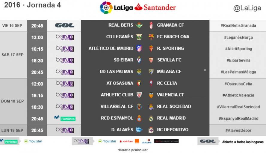 Horarios y TV de la jornada 4 de LaLiga 2016-2017