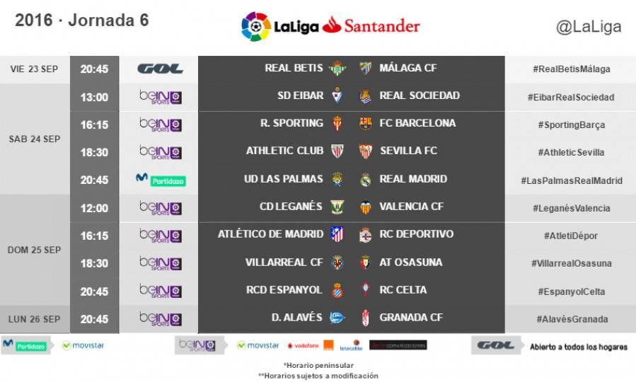 Estos son los horarios de la jornada 6 de LaLiga 2016-2017