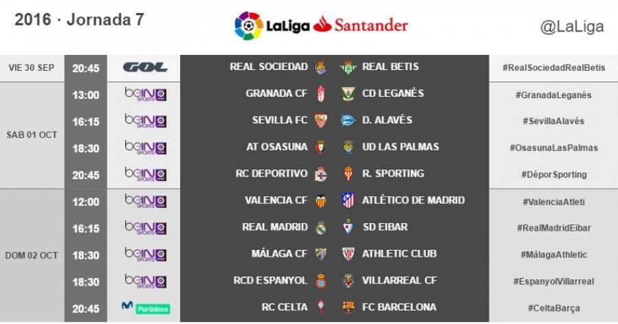 Estos son los horarios de la jornada 7 de LaLiga 2016-2017