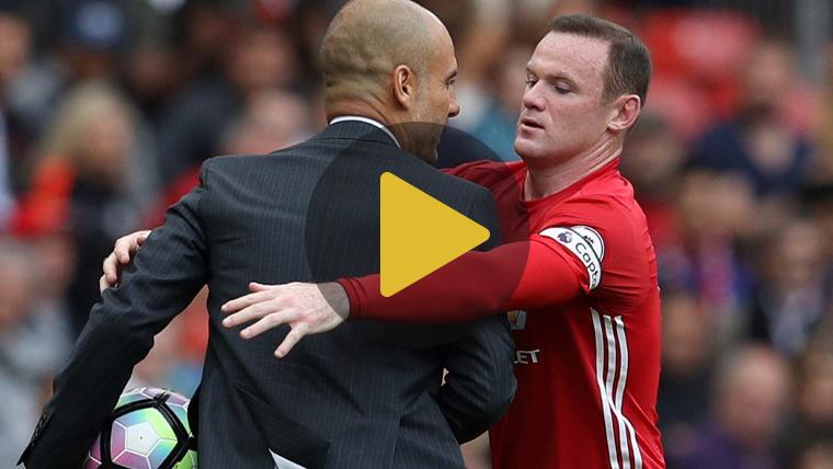 Guardiola se las tuvo con Rooney en un saque de banda