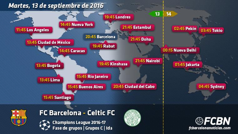Horarios mundiales y televisi�n del FC Barcelona vs Celtic
