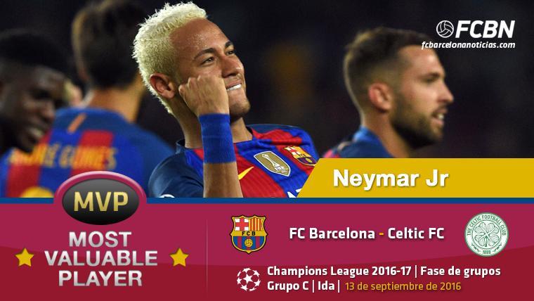 "Neymar Jr, el ""MVP"" del FC Barcelona-Celtic Glasgow"