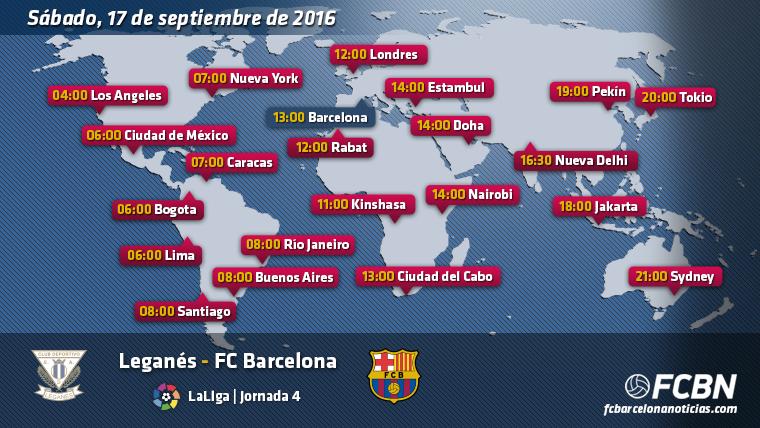 Horarios mundiales y televisi�n del Legan�s-Barcelona