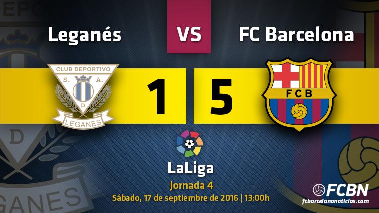 El FC Barcelona venció al CD Leganés en el partido correspondiente a la cuarta jornada de LaLiga 2016-2017