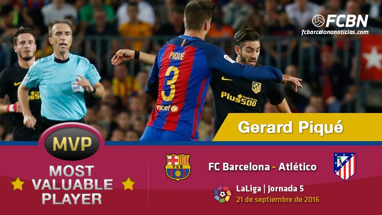 """Gerard Piqu�, el """"MVP"""" del Barcelona contra el Atl�tico"""