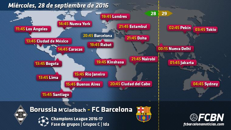 Horarios mundiales y TV del Borussia M�Gladbach vs FC Barcelona