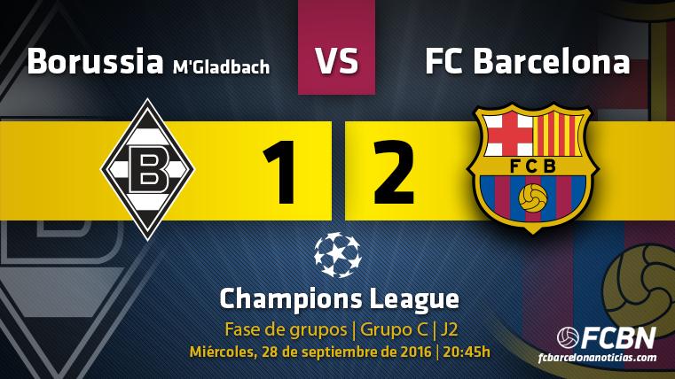 El FC Barcelona venció al Borussia Mönchengladbach en la segunda jornada de la UEFA Champions League 2016-2017