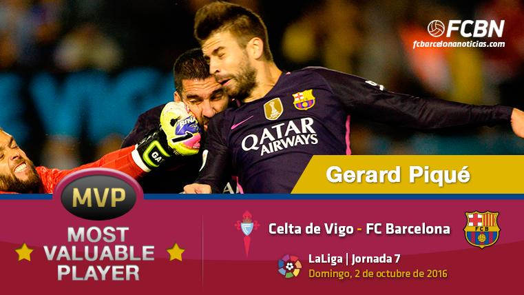 """Gerard Piqué, el """"MVP"""" del Barça ante el Celta de Vigo"""