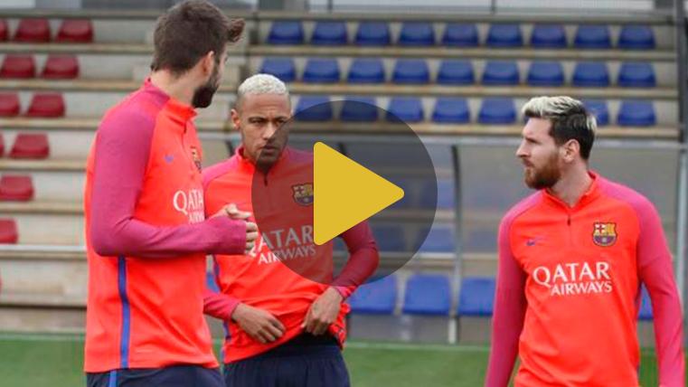 Messi y Umtiti, con los internacionales, en el entreno