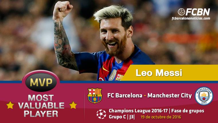 """Leo Messi, el """"MVP"""" del Bar�a frente al Manchester City"""