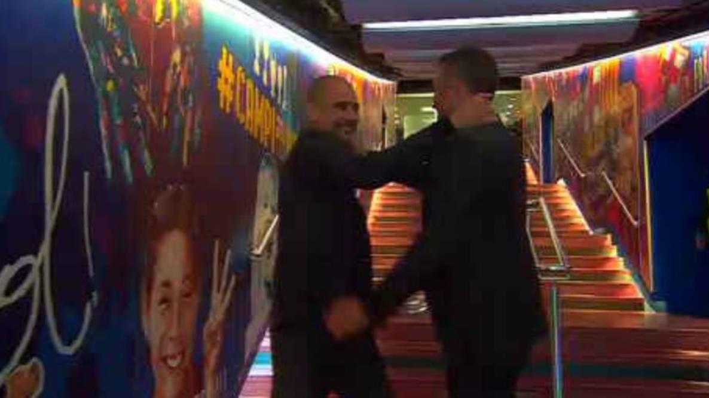 As� fue el efusivo reencuentro entre Luis Enrique y Guardiola