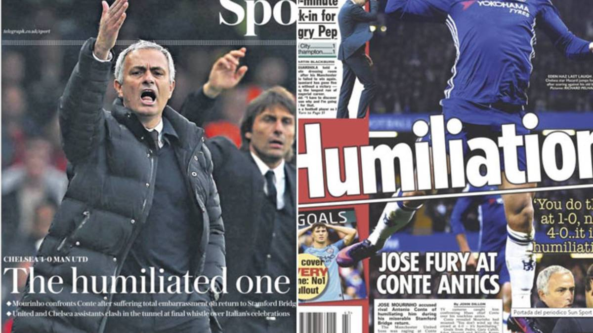 "La prensa inglesa se ceba con ""The humiliated one"" Mourinho"