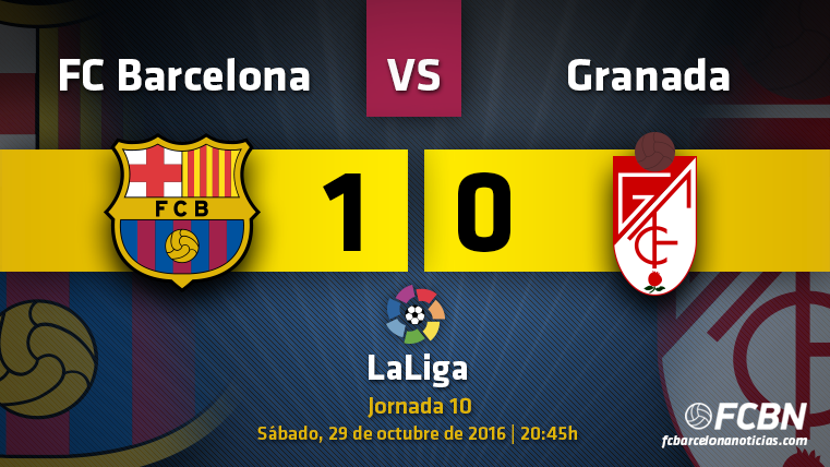 El FC Barcelona venció al Granada CF gracias a un gol de Rafinha en la décima jornada de LaLiga 2016-2017