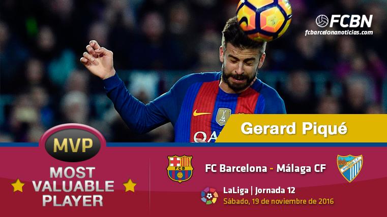 """Gerard Piqué, el """"MVP"""" del FC Barcelona frente al Málaga"""