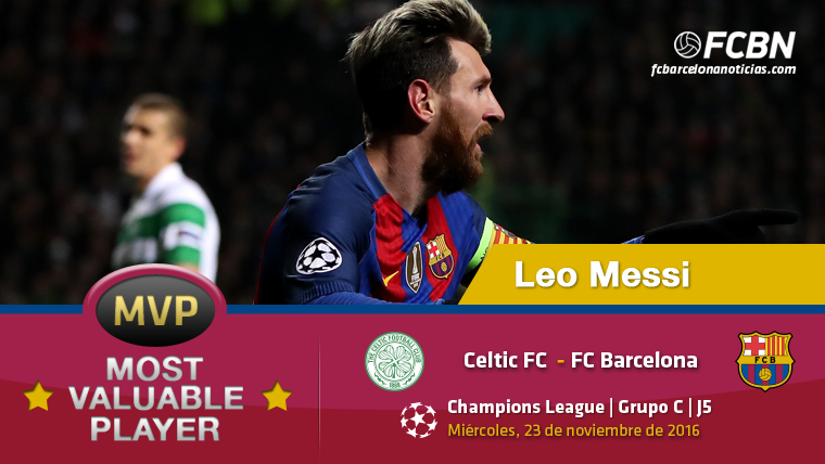 """Leo Messi, """"MVP"""" del Barcelona contra el Celtic Glasgow"""