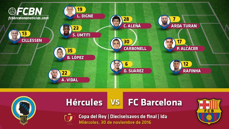 Alineaciones del Hércules-Barcelona (Ida 1/16 Copa)