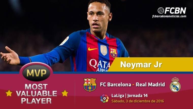 """Neymar Jr, el """"MVP"""" del FC Barcelona contra el Real Madrid"""