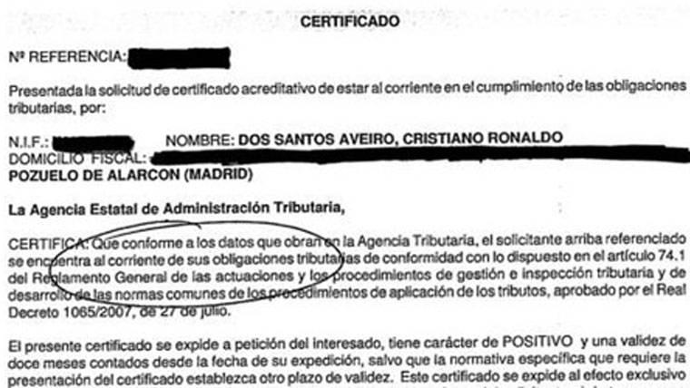 Sale a la luz un certificado de Hacienda de Cristiano Ronaldo