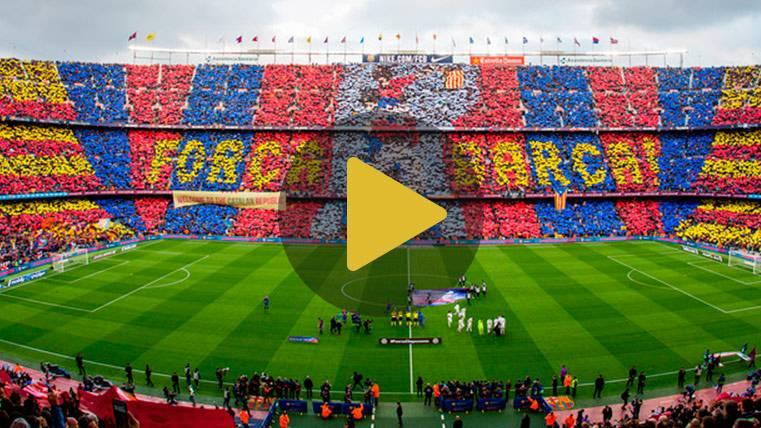 Así fue el precioso mosaico que recibió al Barça ante el Madrid