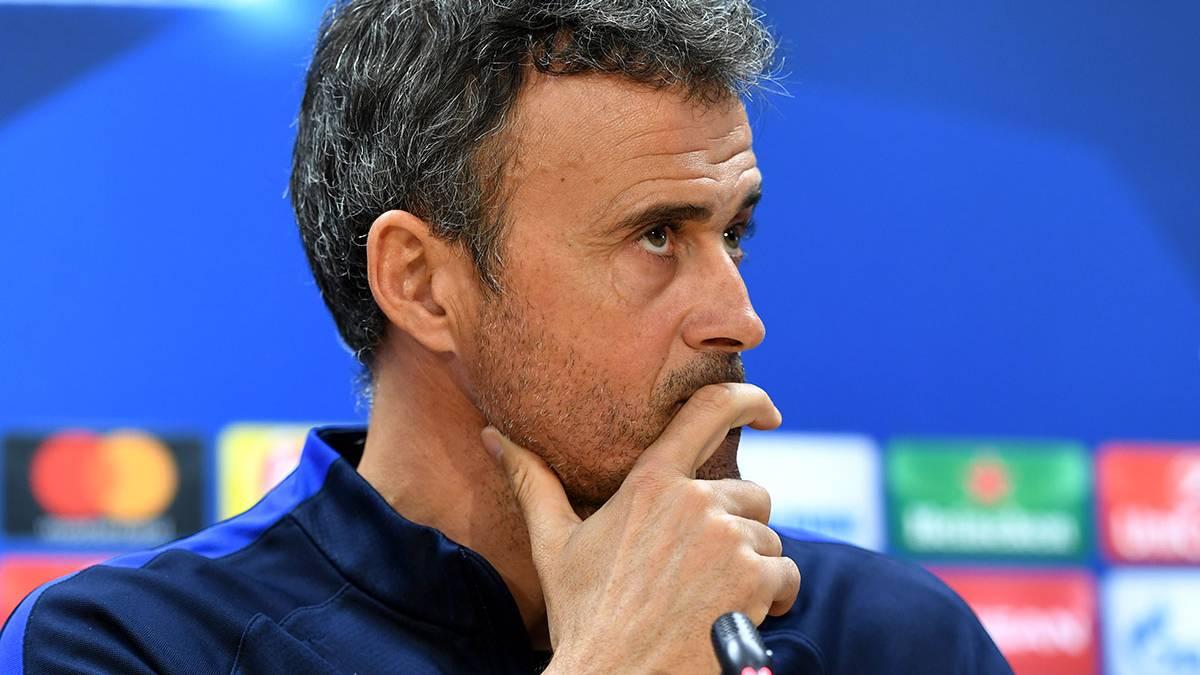 Luis Enrique Martínez, en la rueda de prensa previa al Barça-Mönchengladbach