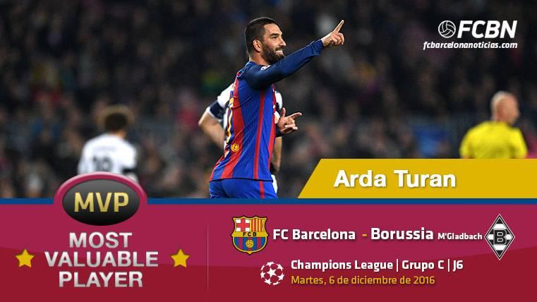 """Arda Turan, el """"MVP"""" del FC Barcelona frente al M'Gladbach"""