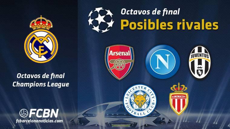 Los 5 posibles rivales del Real Madrid en 1/8 de Champions
