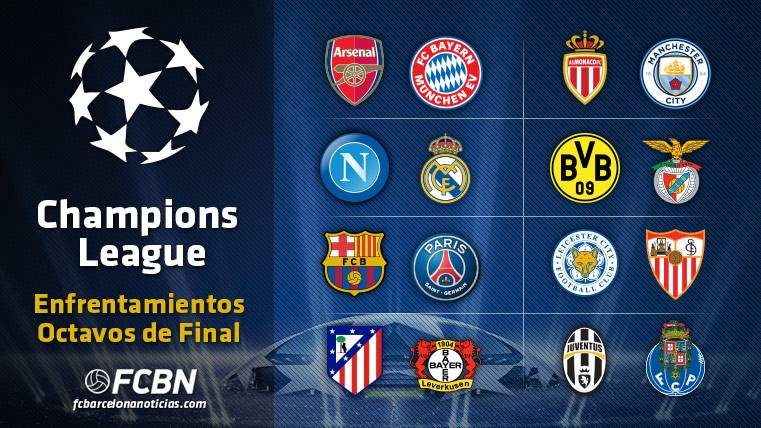 these are the pairings of the eighth of final of the champions league eighth of final of the champions league