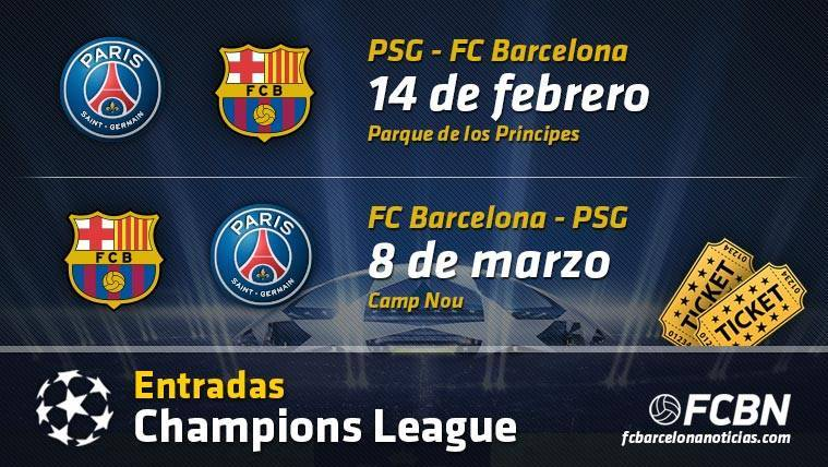 Entradas FC Barcelona vs Paris Saint Germain - Champions
