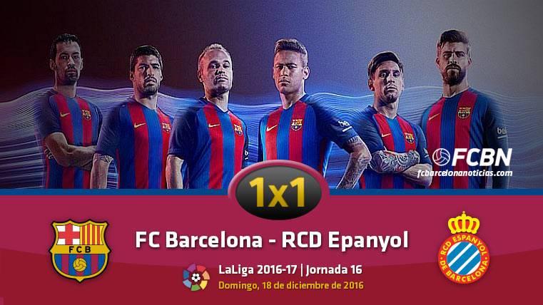 Este es el 1x1 del FC Barcelona frente al RCD Espanyol en Liga