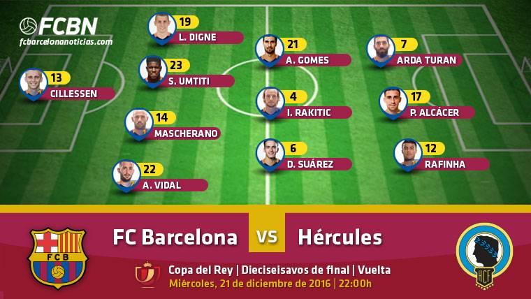 Alineaciones del FC Barcelona-Hércules (Vuelta 1/16 Copa)