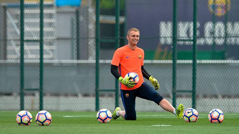 Jasper Cillessen, en un entrenamiento con el FC Barcelona