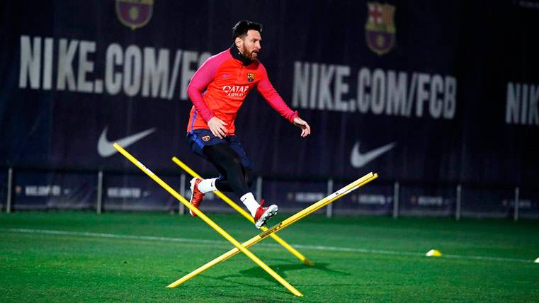 Leo Messi, durante el entrenamiento del Barça este miércoles