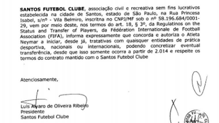 Este es el documento firmado por el Santos que daba libertad a Neymar para negociar con el Barça