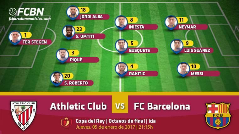 Esta es la alineación del FC Barcelona ante el Athletic Club de Bilbao para la ida octavos de Copa del Rey 2016-2017