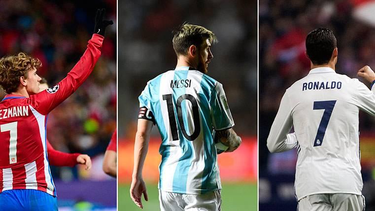 Antoine Griezmann, Leo Messi y Cristiano Ronaldo, finalistas en el The Best FIFA Player