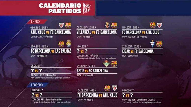 Este es el calendario del FC Barcelona este mes de enero
